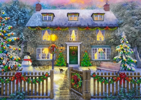 The Christmas cottage - Christmas, house, snow, cottage, holiday, village, snowman, winter