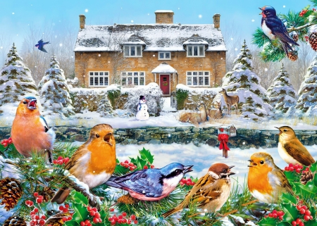 A winter song - beautiful, winter, animals, Christmas, pretty, art, house, holiday, birds, song, gathering, sing, friends