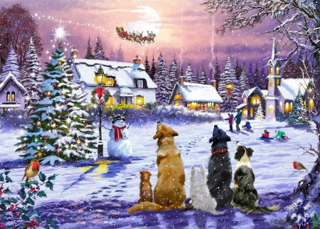 Christmas eve - fun, joy, eve, tree, santa, ride, village, evening, animals, dogs, night, sleigh, Christmas, flight, reindeers, art, houses, winter, snow