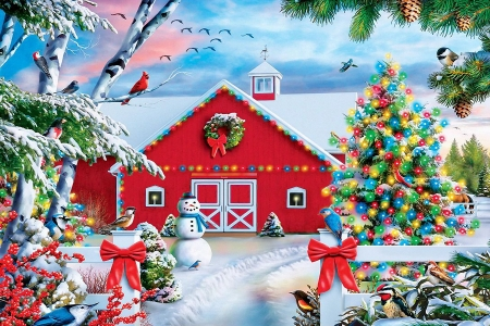 Country Christmas - snow, decoration, digital, snowman, trees, barn, winter
