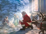 Santa and the Nativity scene