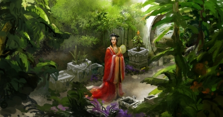 Princess - red, art, frumusete, luminos, hand fan, superb, girl, green, evantai, asian, garden, princess, jieyang