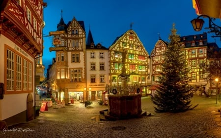 Christmas in Town - Germany, houses, town, Christmas, marketplace, night