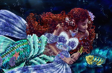 Mermaid - underwater, art, fish, redhead, mermaid, jonas braga, vara, water, fantasy, girl, pesti, summer, siren