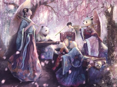 Cherry blossoms - felix hadi, spring, pink, parasol, cherry blossom, sakura, luminos, panda, fantasy, girl, asian