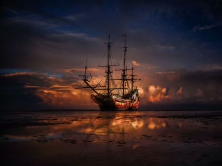 at low tide - low, tide, ship, sea