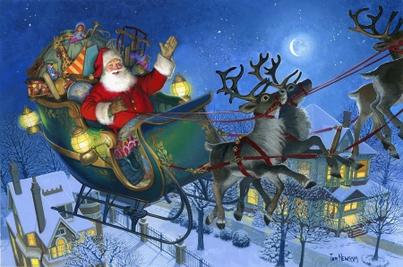I Knew In A Moment It Must Be Santa - reindeer, snow, sleigh, painting, village, gifts