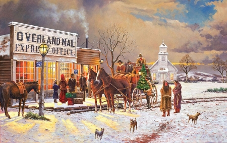Express Delivery - christmas, office, snow, people, season, coach, winter, horses, church