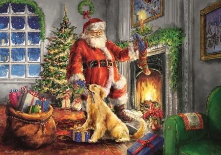 A time of gifts - art, santa, craciun, christmas, painting, pictura, gift, dog
