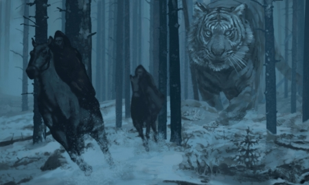 Winter journey - art, forest, giant, tiger, horse, winter, cal, fantasy, davey baker, rider, tigru, blue, night, iarba