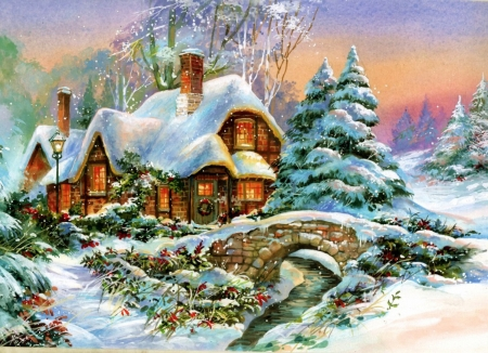 Cottage in Winter - house, snow, bridge, sunset, river, sky, trees, artwork, painting