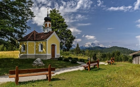 Chapel in Germany - chapel, Germany, mountains, benches