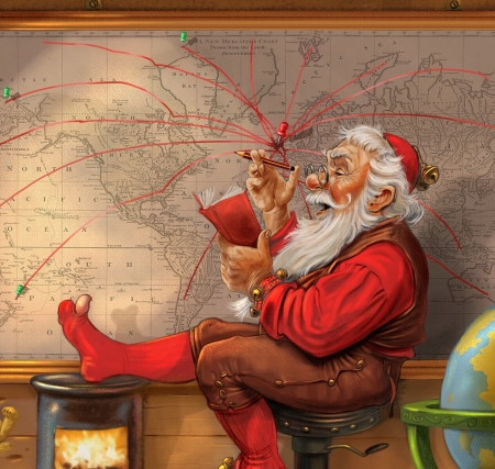 Santa - art, leo brown, red, santa, fantasy, craciun, man, map, christmas