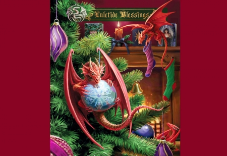 Little Helpers - art, bulbs, candle, christmas, decoration, digital, dragons