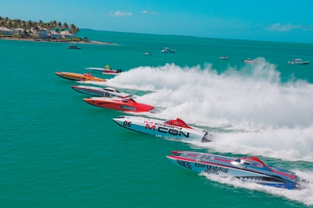 powerboat race - water, race, powerboat, ocean