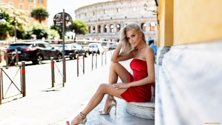 Blonde Portrait - Beauty, Red Dress, Heels, Outdoors