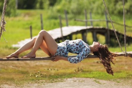Resting Place - dress, bridge, ranch, cowgirls