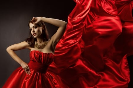 Red Dress - red, photography, dress, model