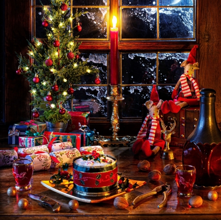 Christmas decoration - Candles, Window, Gifts, Winter