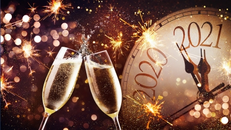 Happy New Year! - holiday, cheers, midnight, clock, new year, champagne, happy, lights, sparkles