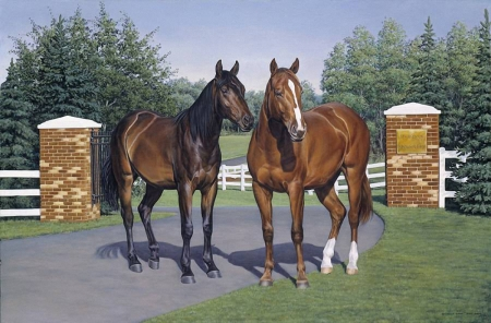 Two Horses - painting, grass, horse, animals