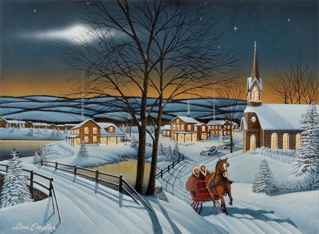 Winter in the country - village, sky, church, horse, road, sleigh, winter, artwork, moon, bridge, snow, painting