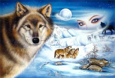 The Look - painting, look, moon, wolves, winter