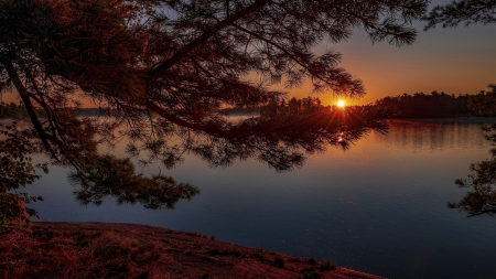 Sunset Over Lake - photography, nature, sunset, lake