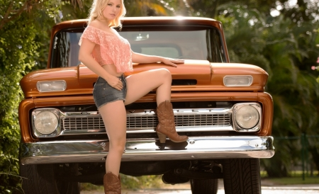 Tancy Marie - Cowgirl - Model, Blonde, Truck, Boots