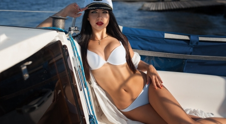 Beautiful Captain - Model, Boat, Sexy, Hat, Outdoors
