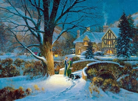 Winter splendor - people, trees, winter, dog, pair, cottage, artwork, snow, bridge, painting