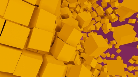 3D Cubes Explosion - cubes, 3d, abstract, 3d abstract, yellow, explosion