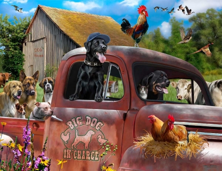 Farm animals - pictura, dog, rooster, art, cow, chicken, caine, gaina, hen, cocos, car, painting, vaca