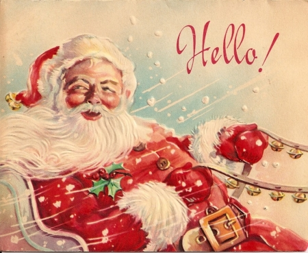 :) - card, vintage, red, santa, christmas, craciun, man