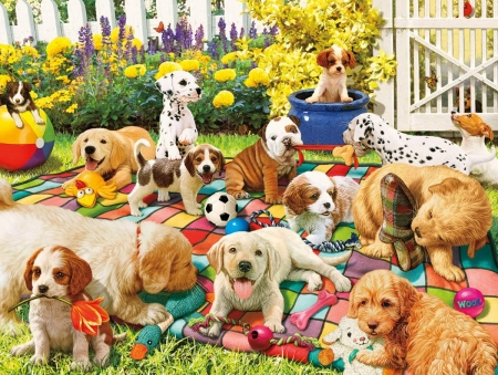 Puppies - cute, art, garden, caine, funny, dog, puppy