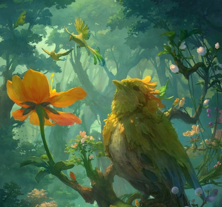 Paradise - dasom hyun, forest, art, frumusete, luminos, yellow, fantasy, green, bird, paradise, flower, jungle