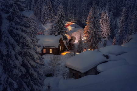 Houses in mountain - road, winter, light, forest, chalet, houses, beautiful, mountain, snow, village, evening, frost, night