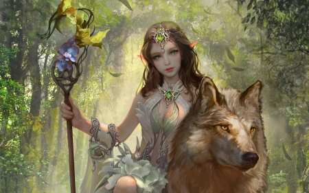 The Elven Princess - art, forest, wolf, girl, digital
