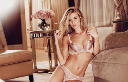 Rosie Huntington-Whiteley - rings, sheers, champagne coloured bikini lingerie, earrings, blonde, small table, pink roses, jewelry, seats