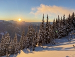 Golden hour on the Peak of Whistler mountain, British Columbia