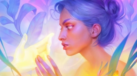 Truthseer - colorful, art, luminos, touch, yellow, spirit, fantasy, ghost, girl, hand, maria poliakova, face, blue