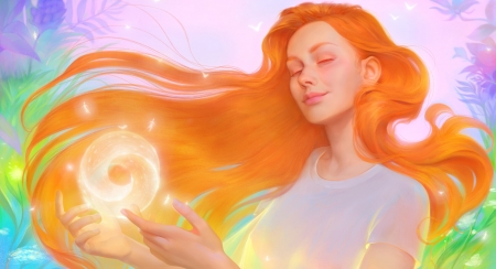 Magic - fantasy, orange, girl, yellow, maria poliakova, maria poliakova bondarenko, colorful, art, frumusete, redhead