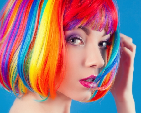 Beauty - vibrant, summer, rainbow, face, colorful, frumusete, model, woman, hair, vara, girl, beauty