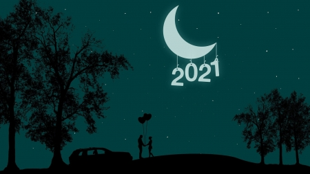 2021 - sky, New Year, 2021, moon, romantic, love, couple