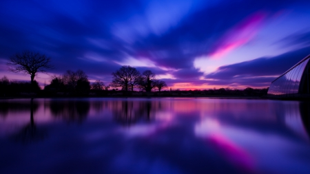Reflected Sunset - nature, reflection, landscapes, sunsets, silhouettes