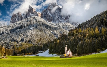 Chapel in Dolomites, Italy - Dolomites, chapel, Italy, mountains