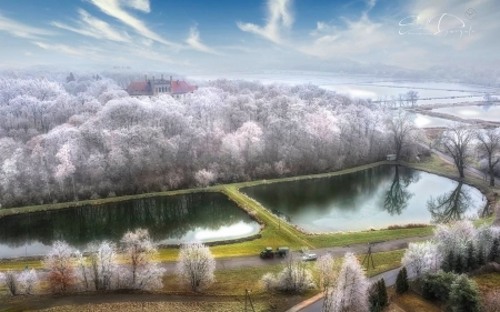 Mirow Palace in Poland - winter, water, Poland, fields, aerial, trees, palace