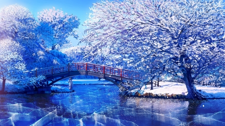 Winter fantasy - beautiful, branches, winter, art, lake, fantasy, tree, snow, bridge, garden, ice, river, frost