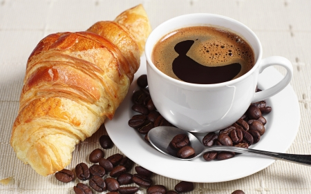 Coffee and Croissant - cup, croissant, coffee, beans