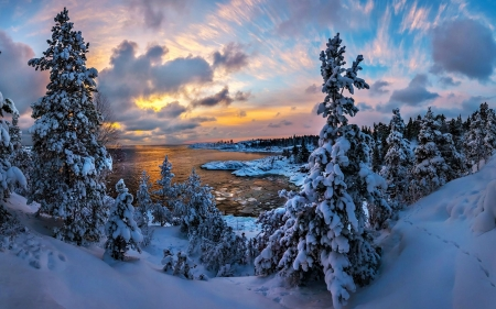 Amazing Winter - snow, colors, ice, sunset, trees, sky, clouds, lake